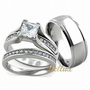 His and hers wedding rings sets princess cut rings set for Matching wedding ring sets his and hers