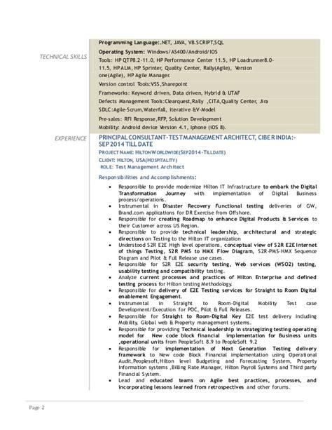 Agile Scrum Qa Resume by Resume Nagaraj V D Test Management Architect