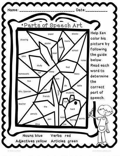 Speech Parts Coloring Grammar Sheet Code Worksheets