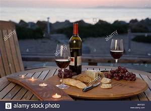 A Table Setting At The Beach For A Wine Party Including Red Wine Stock Photo  30713259