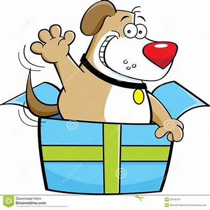 Cartoon Box Inside Dog Gift Clipart Illustration