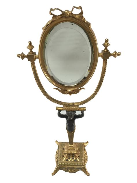 Empire Style Egyptian Influence Oval Mirror   Stand