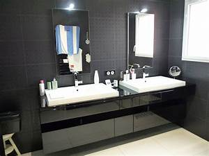 meuble salle de bains laque noir brillant artibois With meuble salle de bain laqué
