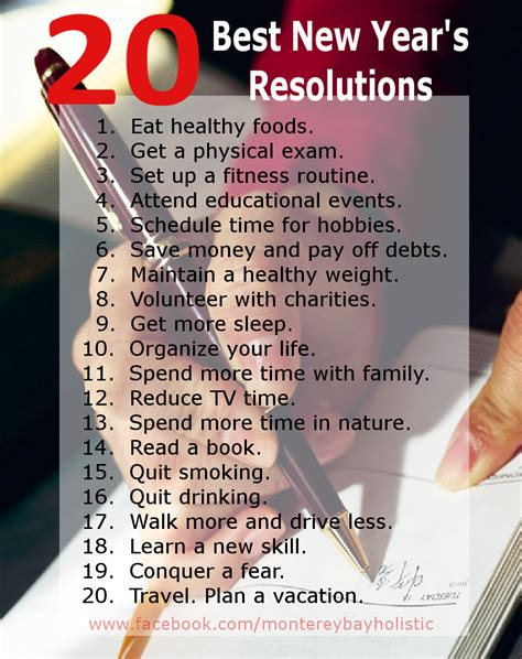 20 Best New Year's Resolutions  Monterey Bay Holistic