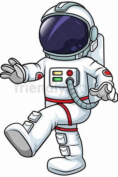 Astronaut Clipart Space Walking Cartoon Suit Gravity