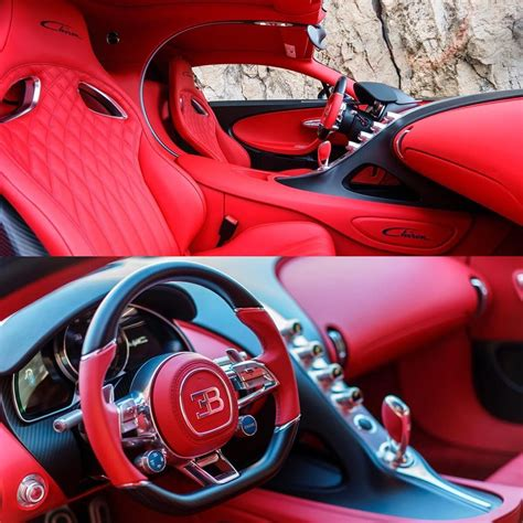 Fixed carbon fiber seats, no carper or insulation, and pull straps instead of door handles. red Bugatti Chiron interior   LMX   Autos, Coches, Deportes