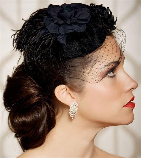 Black Bridal Hat Black Head Piece Wedding Fascinator