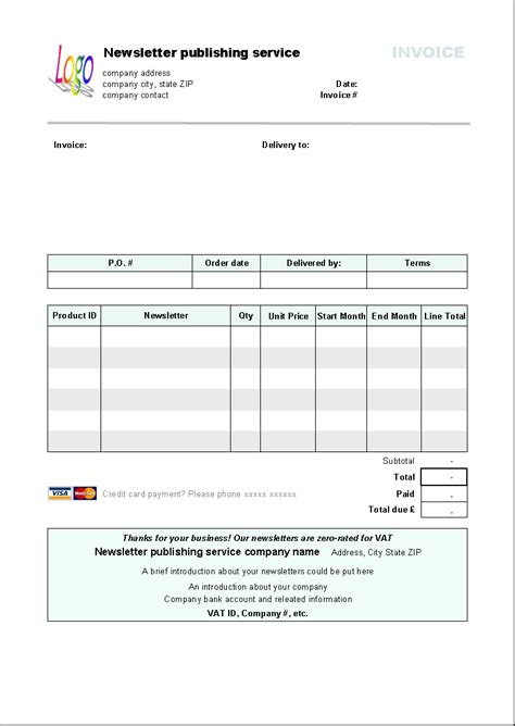 invoice template newsletter publishing invoice template invoice software