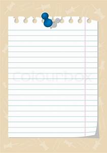 Torn notebook paper with thumbtack, element for design ...
