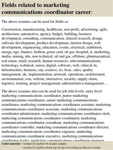 Communication Coordinator by Top 8 Marketing Communications Coordinator Resume Sles