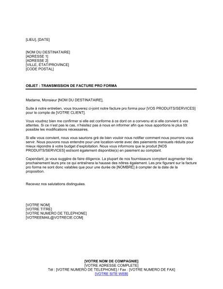modèle lettre envoi document lettre de transmission de facture proforma template