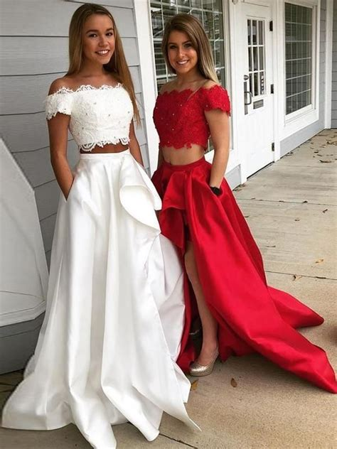 Two Piece Red Prom Dress Cheap Long Lace Prom Dress # ...