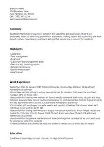 cleaning supervisor resume sles professional apartment maintenance supervisor templates to showcase your talent myperfectresume