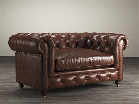 Kensington Leather Sofa by 60 Quot Kensington Leather Sofa 3d Model Restoration Hardware