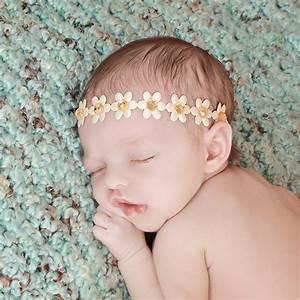 Baby Flower Halo Ivory Baby Headband Ivory and Gold Flower