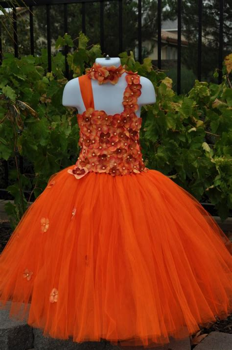 orange dress special occasion dress orange flower girl