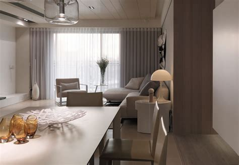 Clean White Beige Furniture In Small Studio Apartment As