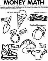 Money Math Coloring Crayola Pages sketch template
