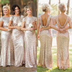 bridesmaids dresses with sleeves vestido madrinha plus size mermaid backless cap sleeve gold sequin bridesmaid dress wedding
