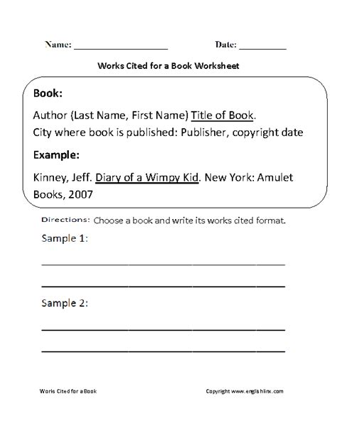 works cited for a book worksheet teach research
