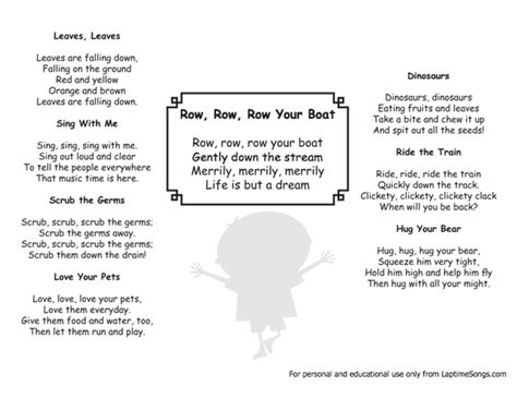 Row Row Row Your Boat Lyrics by Free Lyrics And Mp3 Downloads For Nursery Rhymes And