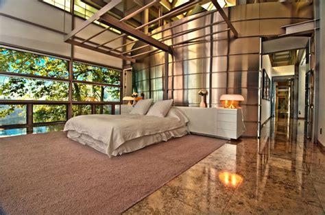 chambre des maitres moderne maison contemporaine de luxe à malibu avec superbe vue