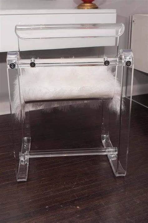 acrylic desk chair with cushion vintage 1970s lucite desk chair with new mongolian