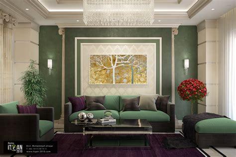 Design Ideas Classic by تصميم نيو كلاسيك لصالة معيشة واستخدام اللون الاخضر
