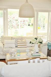beach cottage decor A Beach Cottage Coastal Family Room Makeover with drop ...