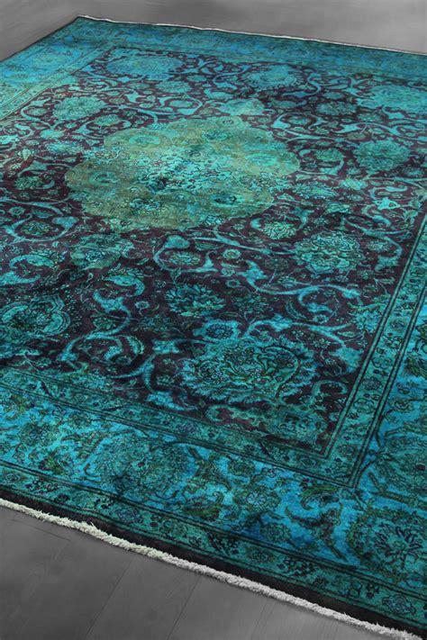 teal and green rug vintage dyed tabriz medallion wool rug
