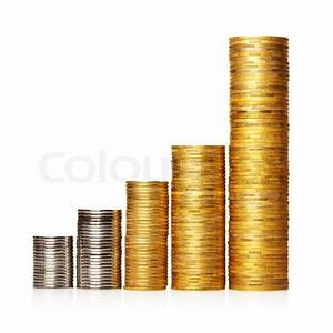 Stack of coins placed as diagram | Stock Photo | Colourbox
