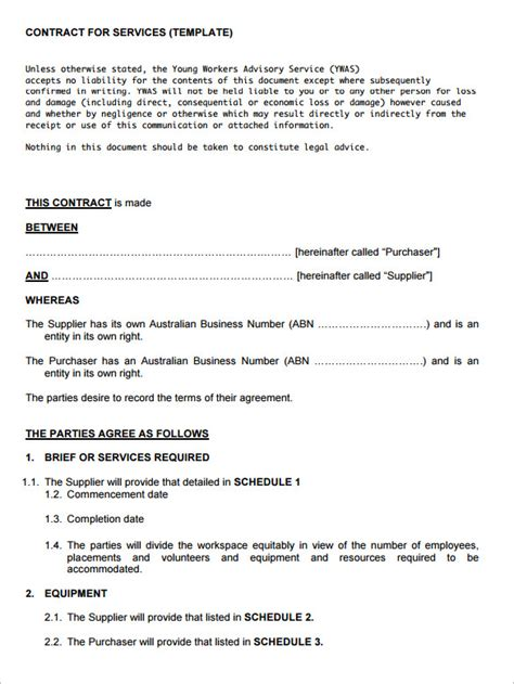 service contract templates word pages google docs