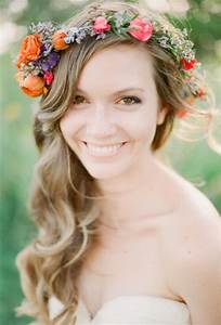 Long, Curly Hair with Bright Flower Crown | Wedding ...