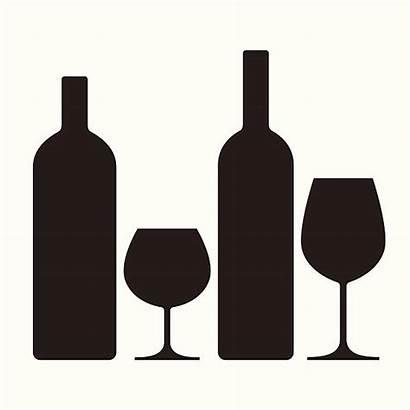 Wine Bottle Bottles Glasses Vector Alcohol Clip