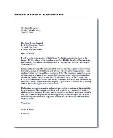 education cover letter  experienced teacher teaching