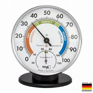 TFA TableStand Chrome Thermo Hygrometer 452033 The Home