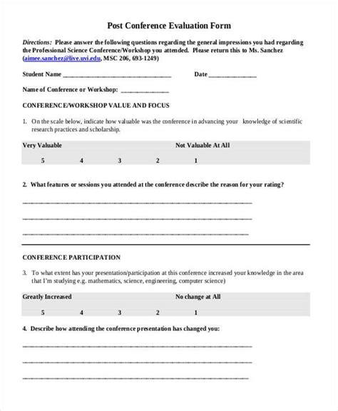 18063 conference evaluation form in word 7 conference evaluation form sles free sle
