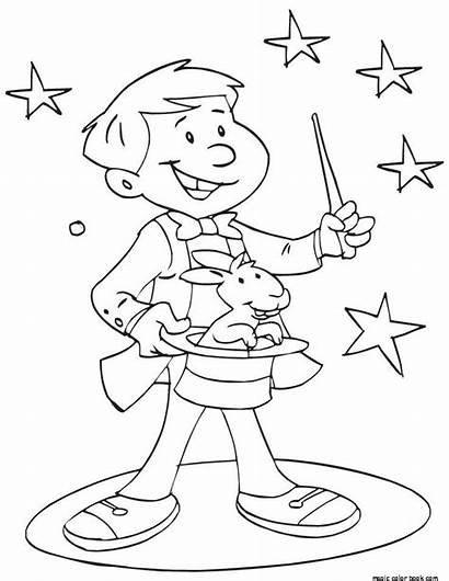 Coloring Pages Magician Magic Young Showing Crafts
