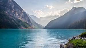 Lake, Mountains, Water, Forest, Sky, Canada, Lake, Louise