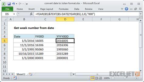 excel formula convert date julian format exceljet
