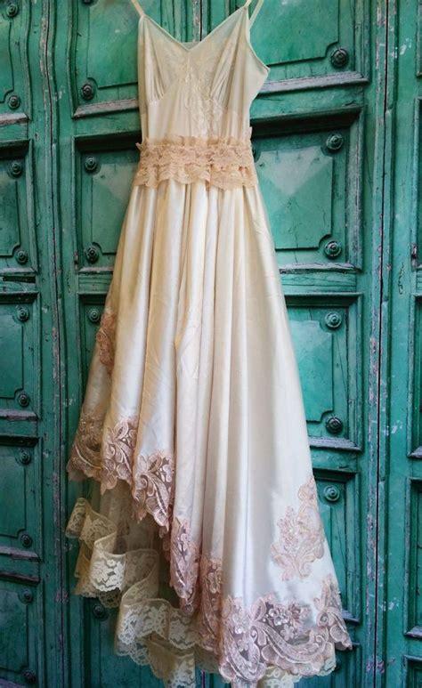 ivory blush lace satin appliqued asymmetrical boho