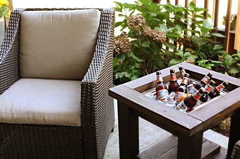 end table with built in l remodelaholic brilliant diy cooler tables for the patio