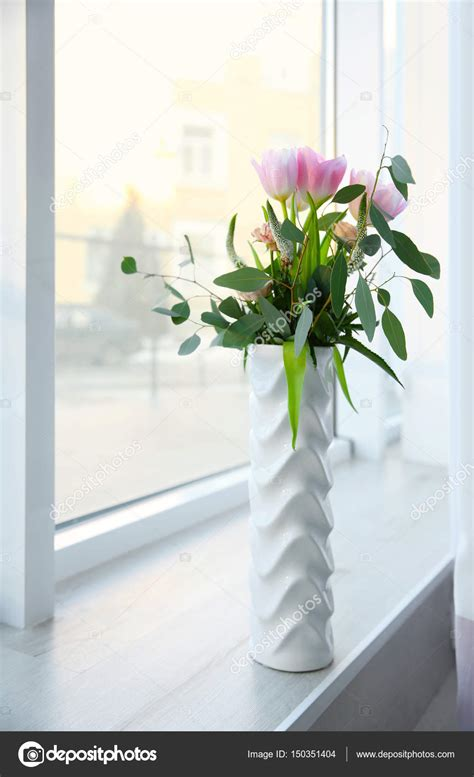Flowers For Windowsill by Vase With Flowers On Windowsill Stock Photo 169 Belchonock
