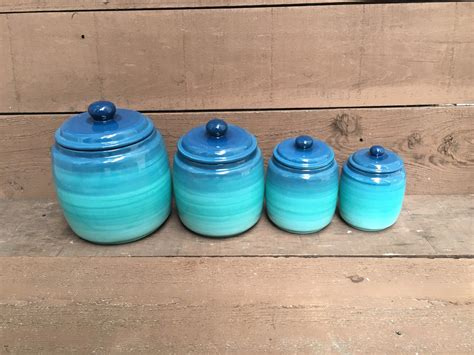 teal kitchen canisters one turquoise ómbre kitchen canister ombre gradient shades