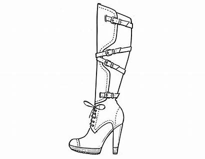Heel Drawing Heels Coloring Shoes Pages Shoe