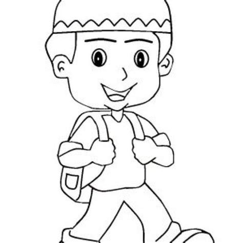 gambar anime muslim hitam putih 15 hasil mewarnai gambar anak sekolah kartun gambar