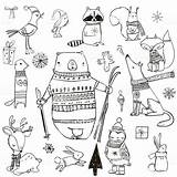Winter Cute Animals Animal Cartoon Drawings Illustration Christmas Doodles Vector Activity Istockphoto Drawing Doodle Draw Istock Graphicriver Sketch Seasons sketch template