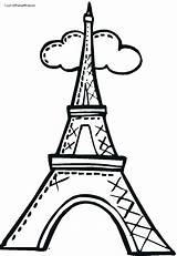 Eiffel Tower Coloring Drawing Towers Paris France Torre Draw Cartoon Twin Simple Clip Step Para Clipart Dibujo Colorear Outline Cliparts sketch template