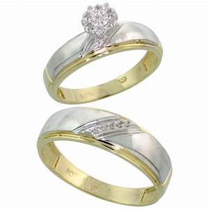 10k yellow gold diamond engagement rings set for men and With men and women wedding ring sets