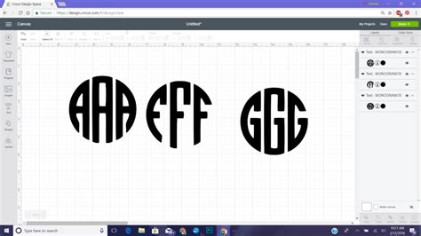 block circle monogram  cricut glitter  graze